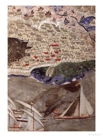 The Ottoman Fleet Blocking the Port of Marseille in 1454 Giclee Print by Nasuh Al-silahi