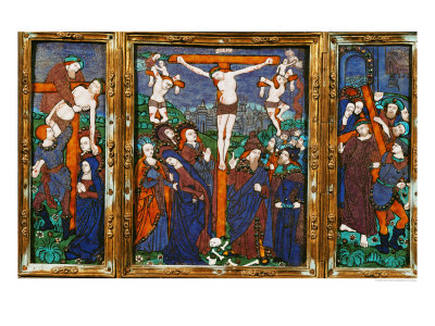 Triptych Depicting the Crucifixion, Limousin Giclee Print by Nardon Penicaud