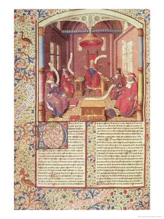 """St. Augustine, Epicurus, Zeno, Antiochus and Varron, from """"De Civitae Dei"""" Premium Giclee Print by Jacques De Besancon"""