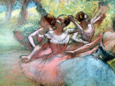 Four Ballerinas on the Stage Premium Giclee Print by Edgar Degas