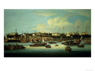 A View of the Hongs Giclee Print by George Chinnery