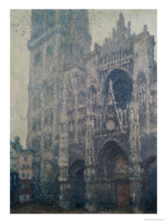 Rouen Cathedral, West Portal, Grey Weather, 1894 Premium Giclee Print by Claude Monet