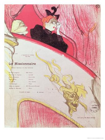 """Cover of a Programme for """"Le Missionaire"""" at the Theatre Libre, 1893-94 Lámina giclée por Henri de Toulouse-Lautrec"""