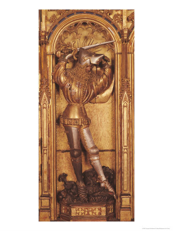 Altarpiece of the Crucifixion, Detail of St. George from the Left Panel Giclee Print by Jacques De Baerze Or Baers