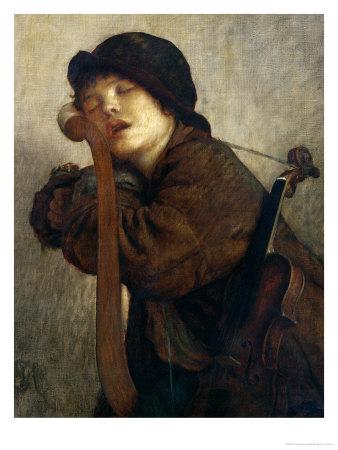 The Little Violinist Sleeping, 1883 Premium Giclee Print by Ernest Antoine Hebert