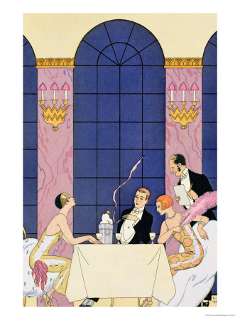 The Gourmands, 1920-30 Premium Giclee Print by Georges Barbier