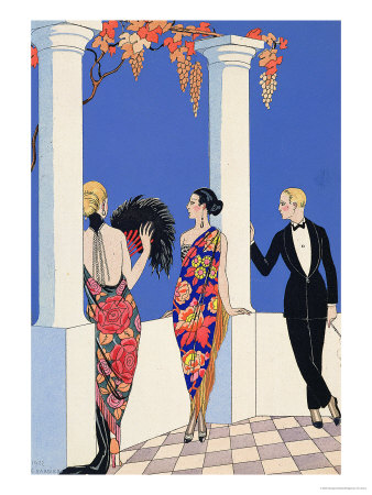 The Taste of Shawls, 1922 Premium Giclee Print by Georges Barbier