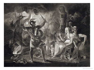 "Macbeth, the Three Witches and Hecate in Act IV, Scene I of ""Macbeth"" by Shakespeare Published 1805 Premium Giclee Print by John & Josiah Boydell"