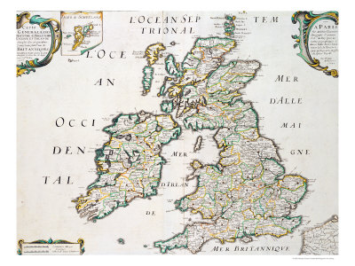 Map of Britain and Ireland, Published Paris 1640 Premium Giclee Print by Nicolas Sanson D'abbeville