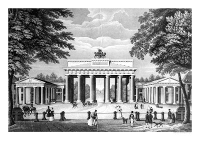 The Brandenburg Gate in Berlin, Mid 19th Century Premium Giclee Print by  German School