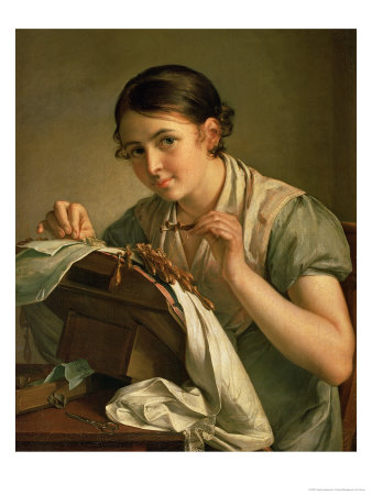 The Lacemaker, 1823 Premium Giclee Print by Vasili Andreevich Tropinin