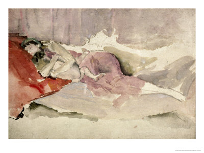 Mother and Child on a Couch Premium Giclee Print by James Abbott McNeill Whistler