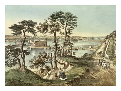 Staten Island and the Narrows from Fort Hamilton Premium Giclee Print by  Currier & Ives
