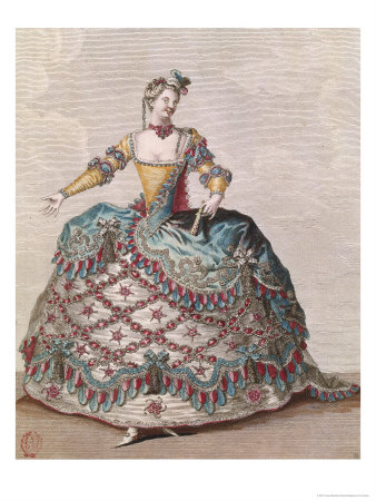 """Indian Woman Costume for the Opera Ballet """"Les Indes Galantes"""" by Jean-Philippe Rameau circa 1735 Giclee Print by Jean Baptiste Martin"""