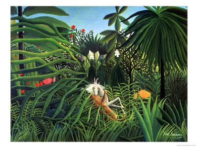 Jaguar Attacking a Horse, 1910 Premium Giclee Print by Henri Rousseau