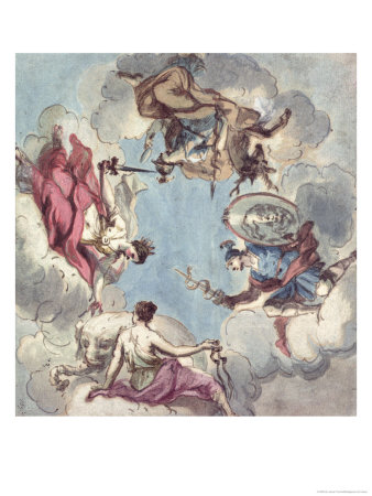 Design for a Ceiling: the Four Cardinal Virtues, Justice, Prudence, Temperance and Fortitude Giclee Print