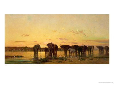African Elephants Giclee Print by Charles Emile De Tournemine