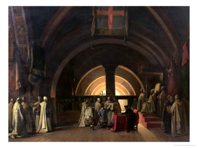 The Inauguration of Jacques de Molay into the Order of Knights Templar in 1295 Premium Giclee Print by Francois-Marius Granet