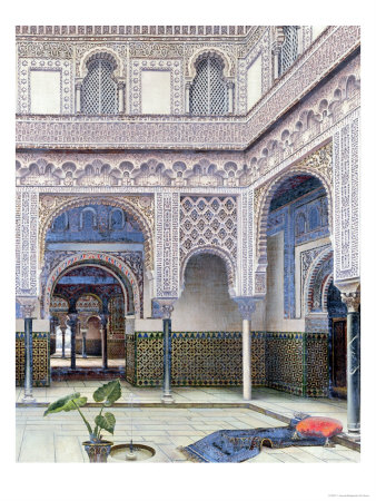 Interior of a Palace, Seville Giclee Print by T. Aceves