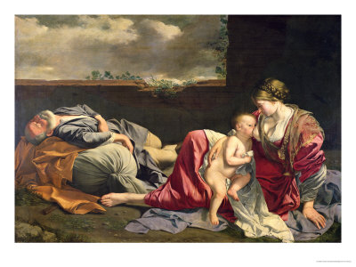The Rest on the Flight into Egypt, 1628 Giclée-tryk af Orazio Gentileschi