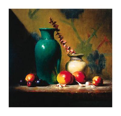 Green Vase and Mangos Poster by David Reidel