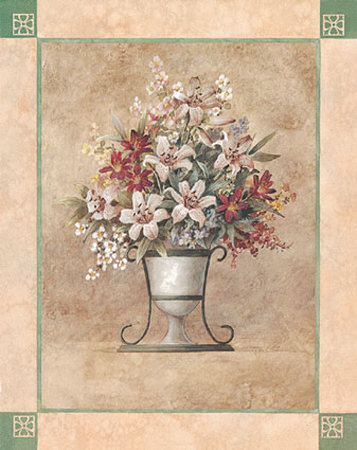Pink Lilies in Urn Prints by T. C. Chiu