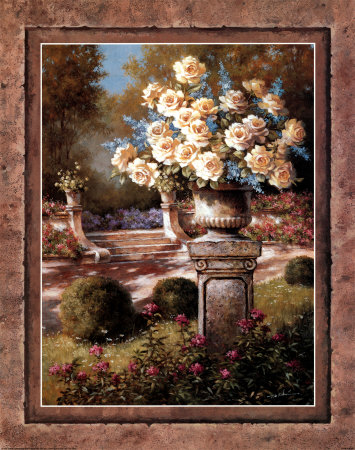 Urn with Yellow Roses Prints by T. C. Chiu