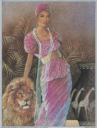 Woman with Lion Posters by T. C. Chiu