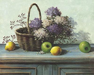 Basket of Purple Flowers Prints by T. C. Chiu