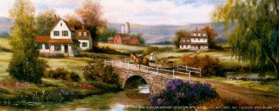 Farm with Stone Bridge Prints by T. C. Chiu