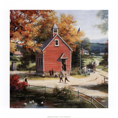 Country Schoolhouse Print by T. C. Chiu