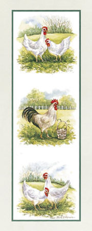 Rooster and Four Chickens Art by Peggy Thatch Sibley