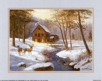 Log Cabin with Deer Print by M. Caroselli