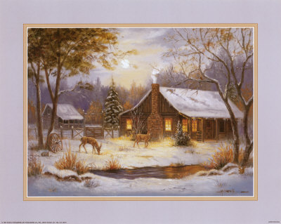 Log Cabin with Deer Art Print