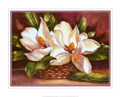 Magnolias in Basket Print by Peggy Thatch Sibley