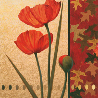 Red Poppy with Teal Damasque Posters by T. C. Chiu