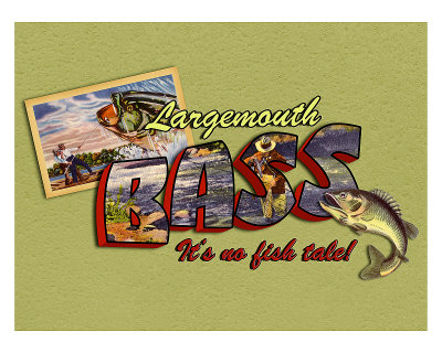 Largemouth Bass Fishing Giclee Print by Kate Ward Thacker