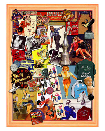 Lucky Strike Bowling Giclee Print by Kate Ward Thacker
