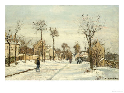 Snowy Road, Louveciennes Premium Giclee Print by Camille Pissarro