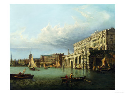 Somerset House and the Adelphi from the River Thames Kunsttryk