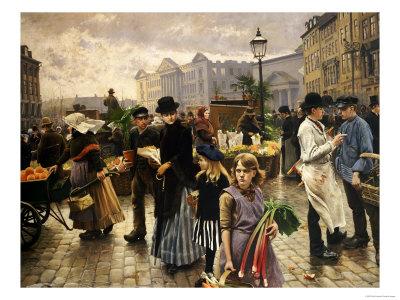 Market Day at Hojbro Plads Copenhagen Lámina giclée por Paul Fischer