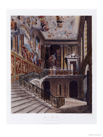 Grand Staircase, Hampton Court Premium Giclee Print by William Henry Pyne
