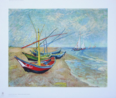 Fishing Boats on the Beach at Saints-Maries, c.1888 Collectable Print by Vincent van Gogh