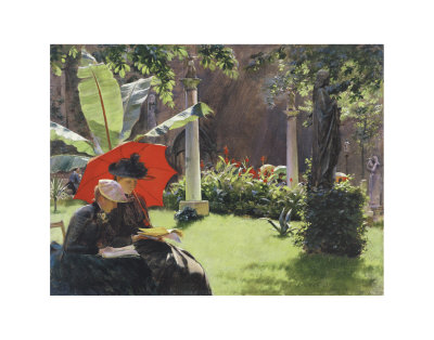 Afternoon in the Cluny Garden, Paris, 1889 Poster by Charles Courtney Curran