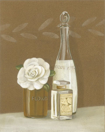 White Flower and Bottles Prints by Marie Perpinan