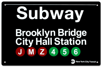 Subway Brooklyn Bridge- City Hall Station Tin Sign