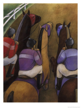 An Overhead Look at Three Horses Being Ridden by Jockeys in a Race Prints