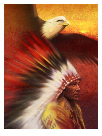 A Middle-Aged Adult Native American Male Wearing a Headdress with a Bald Eagle Flying Overhead Kunsttryk