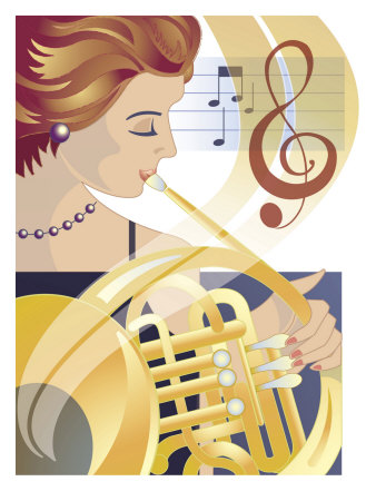An Abstract of a Caucasian Female Symphony Musician Playing the French Horn Reproduction d'art
