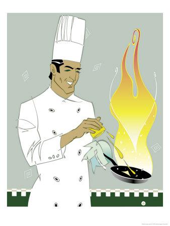 Chef Squeezing Lemon into a Saute Pan Prints